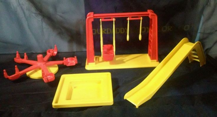 Vintage Playmobil PLAYGROUND accessories 1981 Merry-Go-Round Swing-Set Slide  #PLAYMOBIL