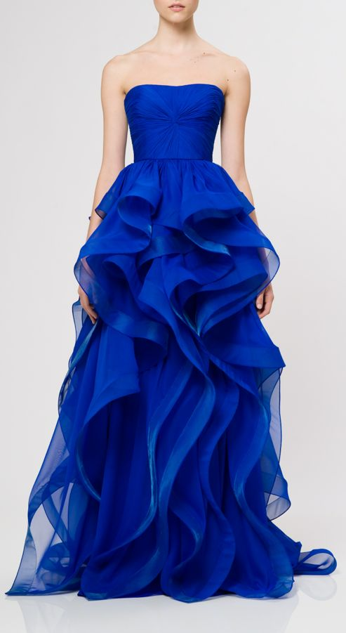 stunning blue colored dress   Reem Acra