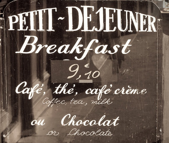 Paris Photograph Cafe Sign Petit Dejeuner Breakfast by ParisPlus: