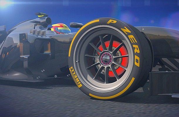 18palcové pneumatiky Pirelli F1.