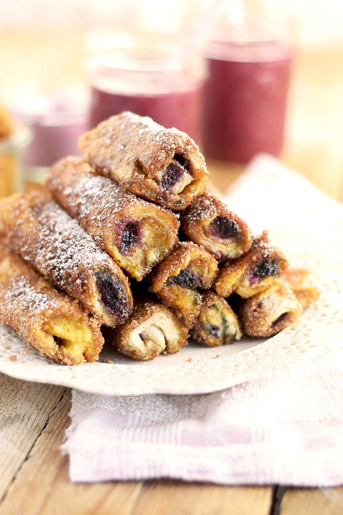 French Toast Zimt Blaubeer Roll Ups - French Toast Cinnamon Blueberry Rolls Ups | Das Knusperstübchen