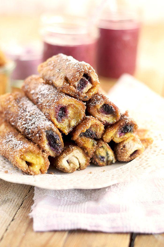 French Toast Zimt Blaubeer Roll Ups - French Toast Cinnamon Blueberry Rolls Ups | Das Knusperstübchen