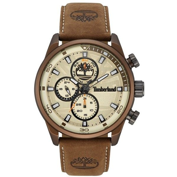 Timberland 'Henniker Ii' Chronograph Leather Strap Watch, 46Mm (€160) ❤ liked on Polyvore featuring jewelry, watches, dial watches, leather-strap watches, timberland watches, chronograph wrist watch and sporty watches