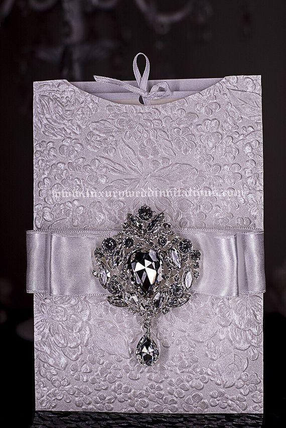 Gatsby Embossed Wedding Invitations Floral by luxuryweddinvitation