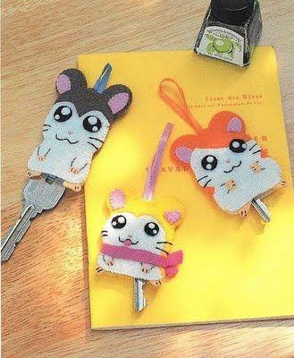 !!!!♥ Feltro-Aholic Moldes e tutoriais em feltro: Moldes Japoneses - Capa para chaves e acessórios de cabelo - Hamtaro!