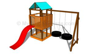 Outdoor Playset Plans - could probably do a ladder instead of a slide to make it work for a smaller backyard