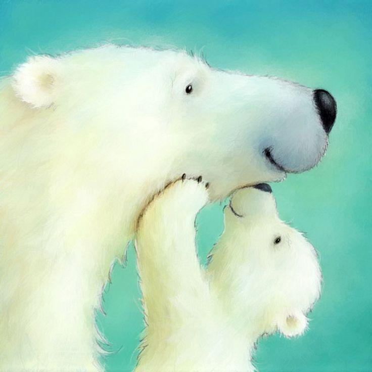 Юбилеем мужчине, открытка с белым медведем