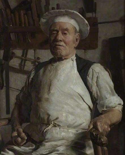 Portrait of Charles Baker (1841–1932), the Chairmaker, Bath, 1930 by Frederick Swaish (1879-1931)
