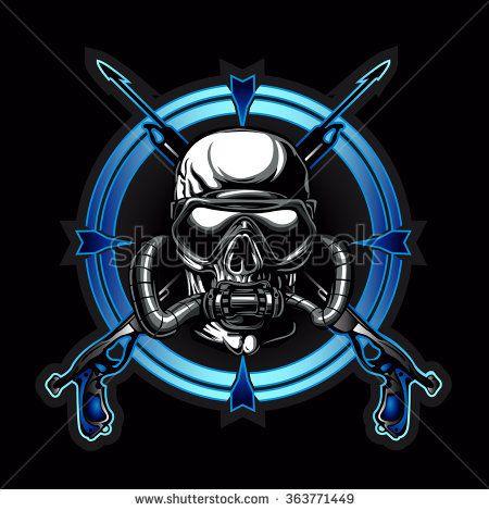 Diver Skull.Dead Diver.Skull illustration