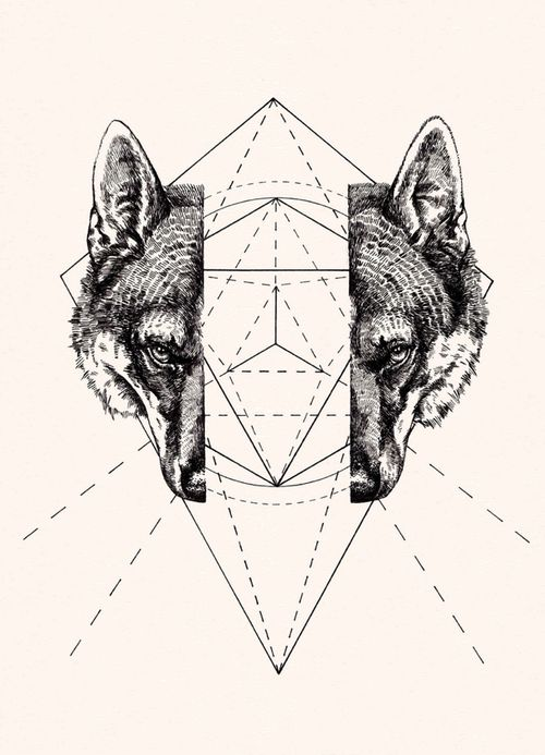 Geometric Wolf by Peter James Carrington