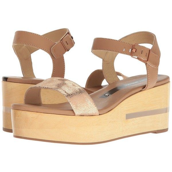 Matt Bernson Dash (Wheat/Rose Gold) Women's Wedge Shoes ($260) ❤ liked on Polyvore featuring shoes, sandals, platform shoes, high heeled footwear, rose gold shoes, high heel platform sandals and rose gold wedge sandals