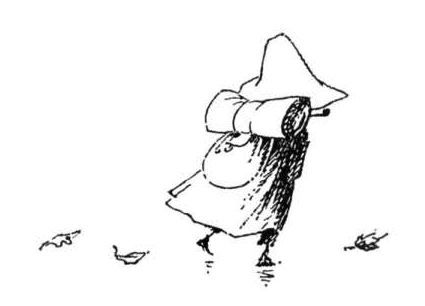 "Snufkin, from Moomins, by Tove Jansson. ""And that's that!"" said Snufkin, pushing back his hat. ""And now we'll pull down every single notice, and every single leaf of grass shall be allowed to grow as it likes."""