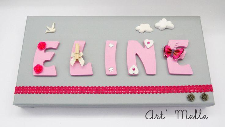 Tableau Prénom Personnalisé ☆ Eline ☆ Thème Gris & Rose : Décoration pour…