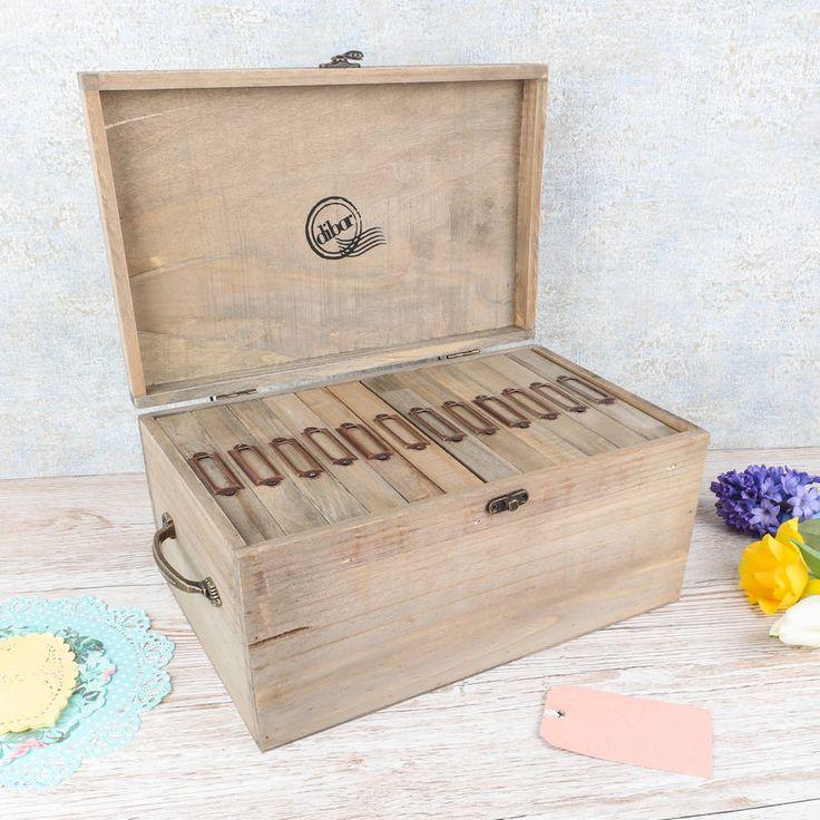 Large Wooden Family Photo Storage Box