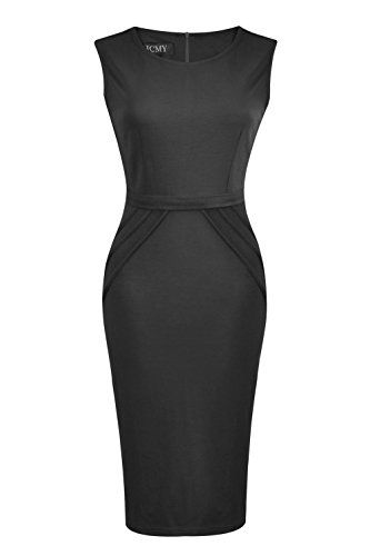 HCMY Wear To Work Sleeveless Midi Evening Dresses for Women Party Formal Black L ** Click image to read more details. #WomensSuitingBlazers