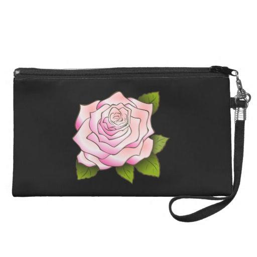 Vintage Pink Rose Drawing Black Wristlet - #vintagewishes #windywinters #zazzle