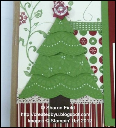 Christmas tree using Delicate Designs & Petals-a-Plenty embossing folders and Large Scallop edgelit. Thanks Sharon!: Scrapbook