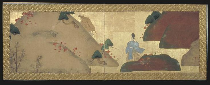 The Path through Mount Utsu, by Fukae Roshu (1699-1757), Japan, Edo period, two-panel folding screen, ink, colors, and gold on paper - Asian Art Museum of San Francisco