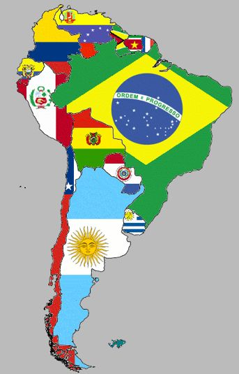 Map of South American with country flags. Fun! Mapa de Sudamérica con las…