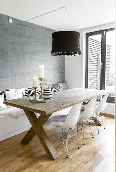 dining room. wood table. white chairs. bench. home. interior design. modern.