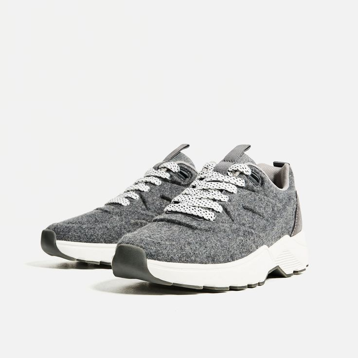 Image 4 of FELT LACE-UP SNEAKERS from Zara