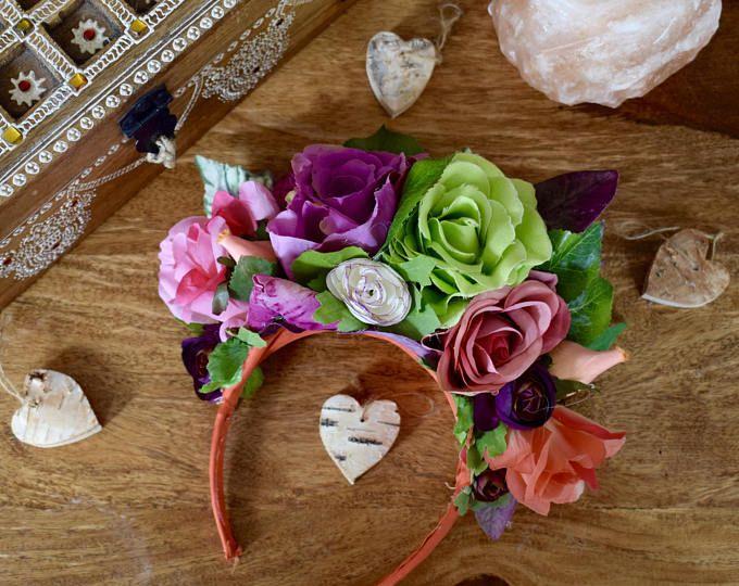 Corona de flores de boda rústico con mano pintadas hojas y
