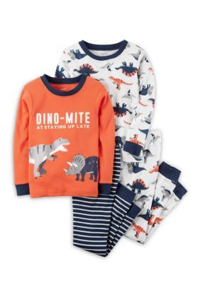 Carter's 4-Piece Dino-Mite Snug Fit Cotton Pjs Toddler Boys - Orange - 4T