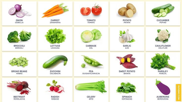 Lista de todas las verduras en Inglés - Verduras Inglés. Vegetales en Ingles lista de mejores. Vegetables in Spanish and English for Kids