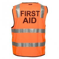 Hi Vis Safety Vest with Pre-printed messages like First Aid, Fire Warden, Security, Staff, Traffic Controller and Visitor.  Ideal Safety wear for trucking companies, mining sites, airports, public transport sites, bars & clubs and lots more.  #safety #HiVis #workwear #firstaid #security #workvest #reflectiveworkwear #promotionalsafety #promotionaluniform #workwear