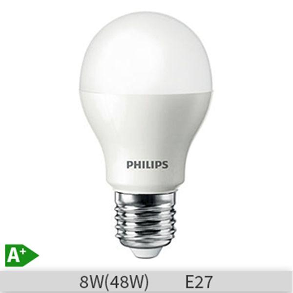 Bec LED Philips standard 8W E27 A60 lumina calda 230V FR ND http://www.etbm.ro/tag/148/becuri-led-e27