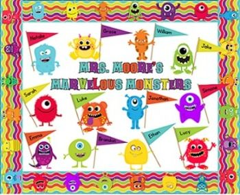 This kit contains everything you need to create an adorable monster theme back to school bulletin board! Includes border, monsters, and editable flags for you to add your students' names to. Also provided are letters and numbers in matching colors that you can use to add your own message to your bulletin board. $