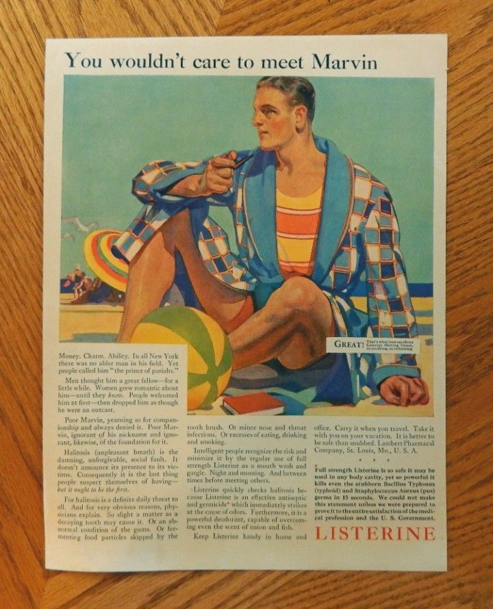 Listerine  original print ad  1929 Color Illustration