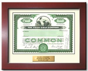 its the real thing and so is this stock certificate share a coke and get a smile when they open your gift buy one share of coca cola stock