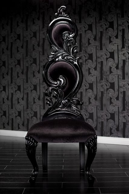 Black Velvet Baroque High Back Chair by Clarisa  LaStrega Superb for Gothic Decor ~ Love this!