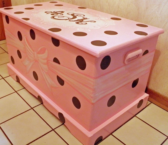 Image detail for -Kid's toy chest painted pink with large polka-dot spots