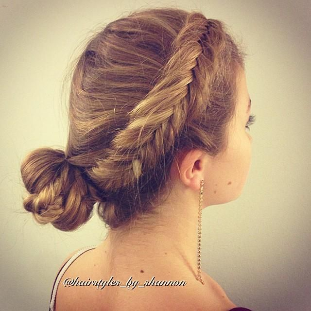 Messy Dutch fishtail into a bun from @hairstyles_by_shannon