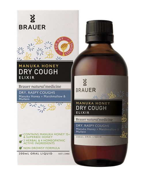 Adult Manuka Honey Dry Cough Elixir 200mL- Adult Manuka Honey Dry Cough contains ingredients traditionally used in herbal and homeopathic medicine to temporarily relieve dry, raspy coughs.