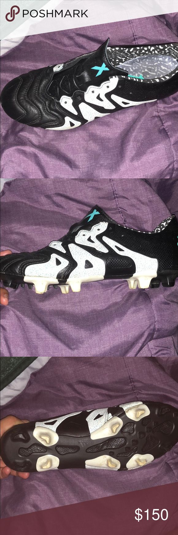 Adidas soccer shoes 15.1 kangaroo leather Used a couple times.. shoe laces are pink I do have them not in pic.. adidas Shoes Athletic Shoes