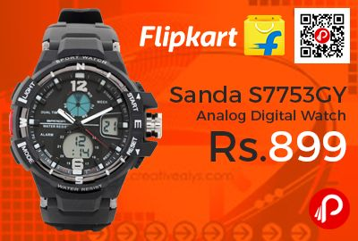 Flipkart is offering 63% off on Sanda S7753GY Analog Digital Watch at Rs.899 Only. Water Resistant (30 m), Display Type: Analog-Digital, , Strap: Black, Plastic, Date Display Available, Dual Time Display, Electro-luminescent Backlight.  http://www.paisebachaoindia.com/sanda-s7753gy-analog-digital-watch-at-rs-899-only-flipkart/
