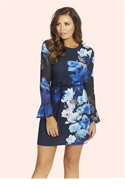 Jess Wright Floral Dresses | SistaGlam Celebrity Clothing  £60.00 For more of a casual look try out our beautiful floral print shift dress. Rock with some chunky heel booties for a bit of edge or soften the look with girly heels.   Colour: Blue