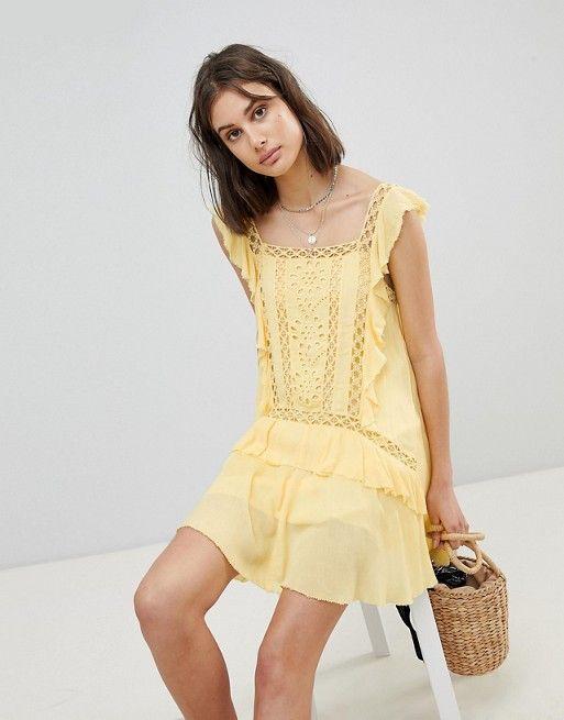7de3b091a4d45 Free People Cut Work Mini Dress in 2019   Stuff I want Rn   Cutwork ...