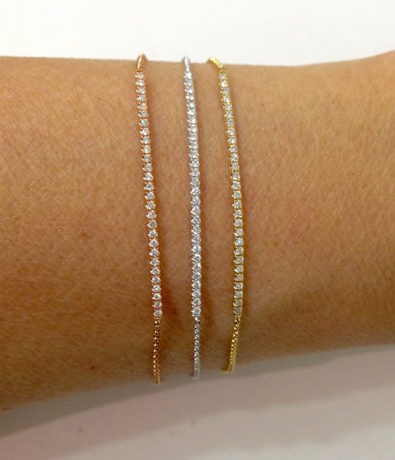 0 20 Carat Diamond Bracelet Bar Tennis Line 14k Yellow White Rose Pink Gold Bracelets In 2018 Pinterest