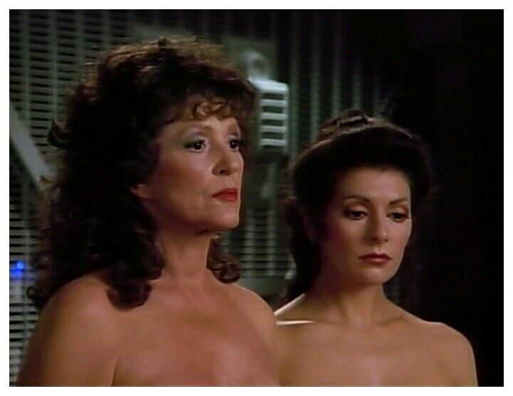 """The women of Star Trek TV Series: The Next Generation. Deanna Troi played by Actres: Marina Sirtis, and the women who played her mom on the left """"Betazoid Ambassador Lwaxana Troi"""", was played by actres: Majel Barrett."""