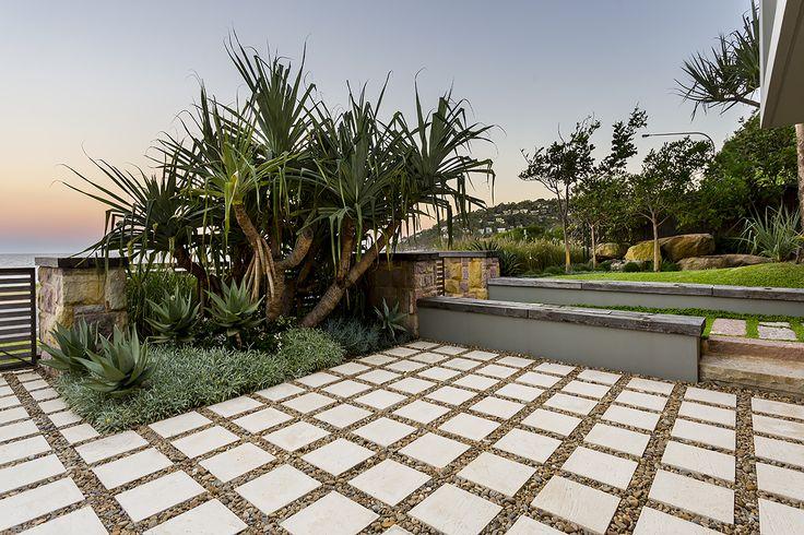 Pandanas utilis underplanted with Aloe 'Big Red', Gazania tomentosa, Senecio serpens & Trachelospermum 'Tricolour'. Palm Beach, NSW Australia Anthony Wyer + Associates ww.anthonywyer.com