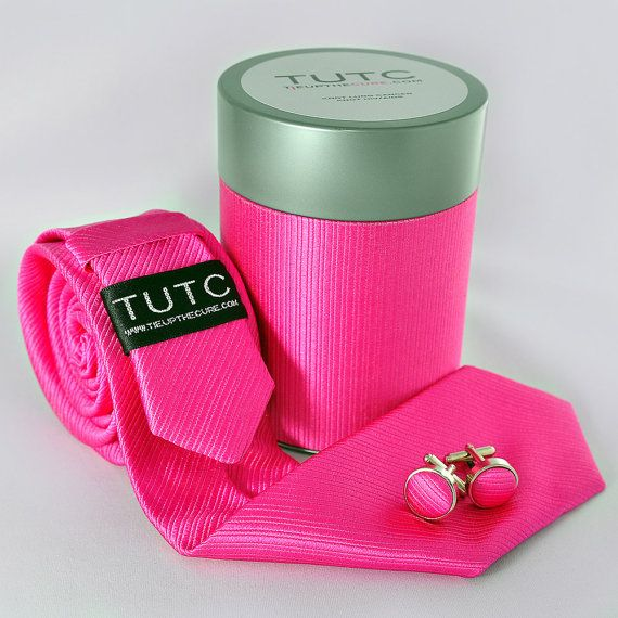 PINK SKINNY TIE tube set by TieUpTheCure on Etsy