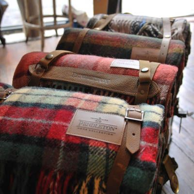 Pendleton Woolen Mills makes this holiday's hottest blankets to give and receive, which we found at Old Hollywood in Brooklyn in New York.