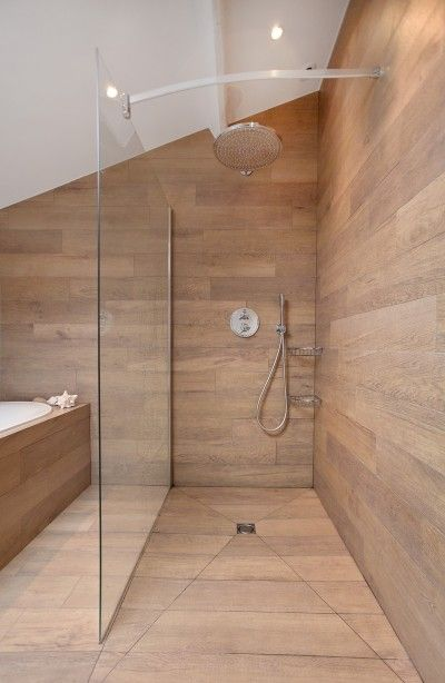 Bathroom - I love the wooden shower idea, but no idea how to make it practical