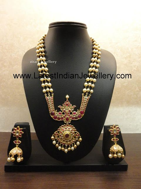 Traditional Pearls Long Haaram with Heavy Flat Diamond/Uncut Diamond Pendant and Jhumkas from Sitara Jewellers | Latest Indian Jewellery Des...