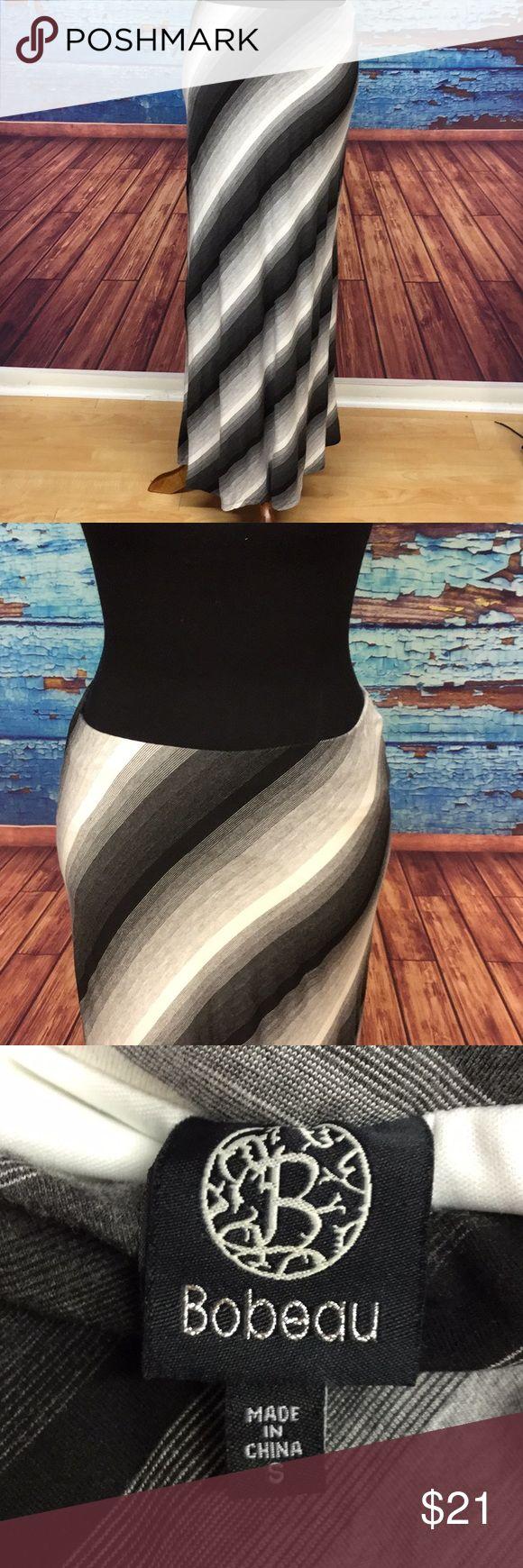 Bobeau maxi skirt small black gray white Diagonal striped maxi skirt No visible flaws Upper part of this skirt is lined 25 waist 38 long bobeau Skirts Maxi