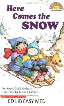 Here Comes the Snow - by Angela Shelf Medearis, illustrated by Maxie Chambliss. After waiting anxiously for the arrival of snow, children enjoy it by making snow angels, throwing snowballs, and riding their sleds.